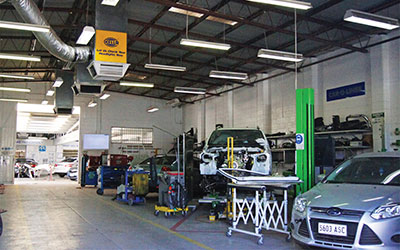 Immaculate modern crash repair centre